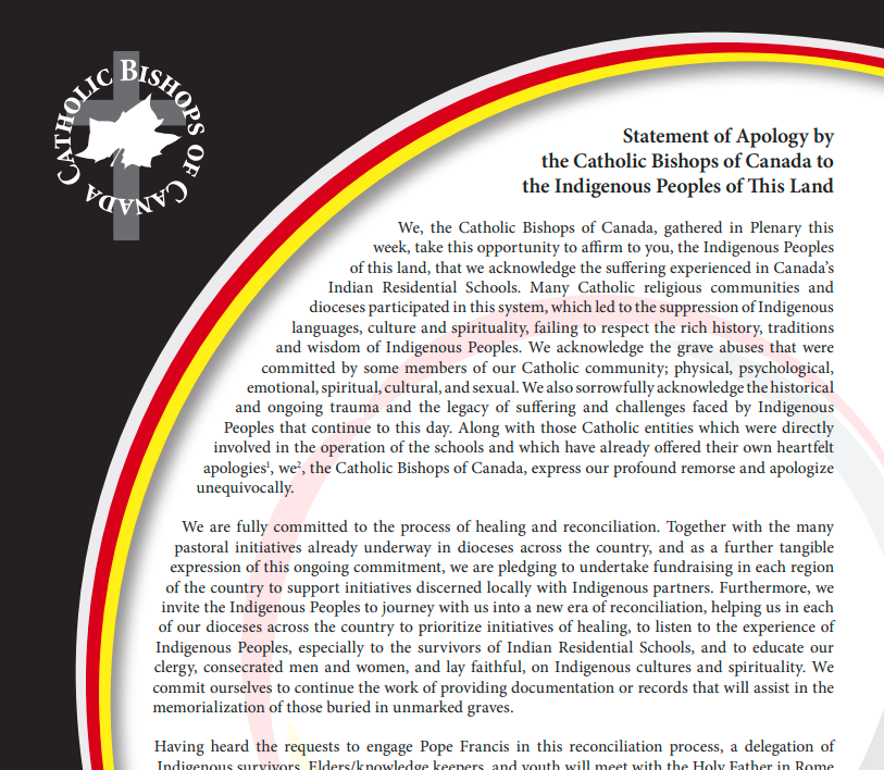 Statement of Apology by the Catholic Bishops of Canada to the Indigenous Peoples of This Land